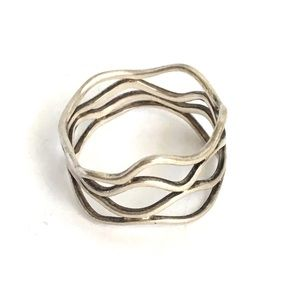 Vintage Wave Swirl Ring Sterling Silver Band